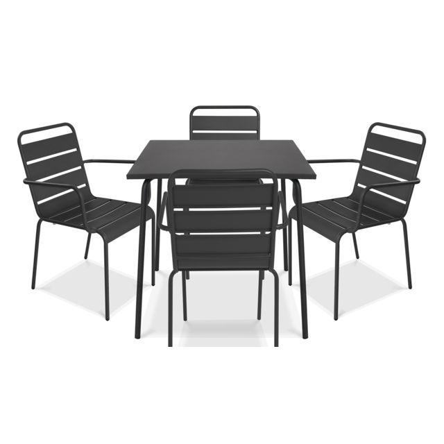 Table de jardin carrée en métal et 4 fauteuils, Palavas - Gris