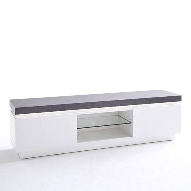 Inside 75 Meuble Tv design Atlantis laqué blanc mat et béton 2 portes Led blanc inclus