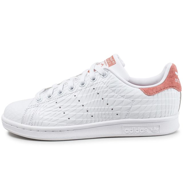 Adidas originals - Stan Smith Triangle Raw Blanche Et Rose 41 1/3 - pas cher Achat / Vente Baskets femme - RueDuCommerce