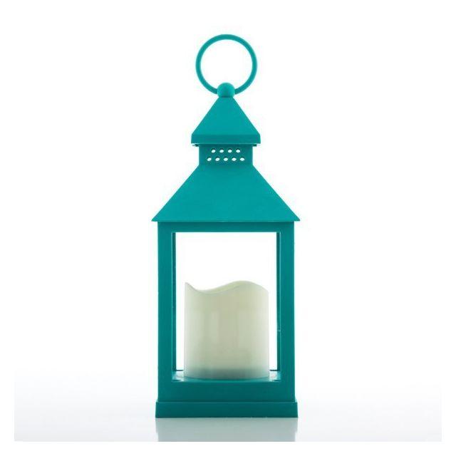 Marque Generique - Lanterne avec Bougie Led - Lampe original exterieur et interieur Couleur - Turquoise
