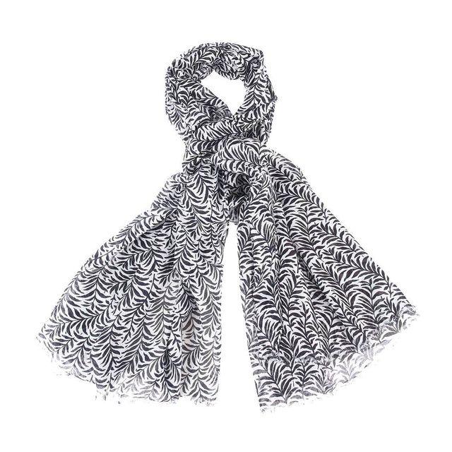 Harris Wilson - Chèche Istar Harris Hilson blanc à motifs feuilles bleu  marine e9864eaac91