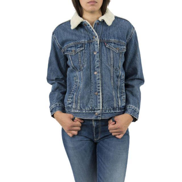 LEVIS - blousons et vestes 36137 exbf sherpa trucker bleu - pas cher Achat    Vente Blouson femme - RueDuCommerce 69c04e9d5e10