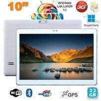 Tablette 10 pouces 3G Android 5.1 Lollipop Dual Sim Quad Core 32Go Blanc