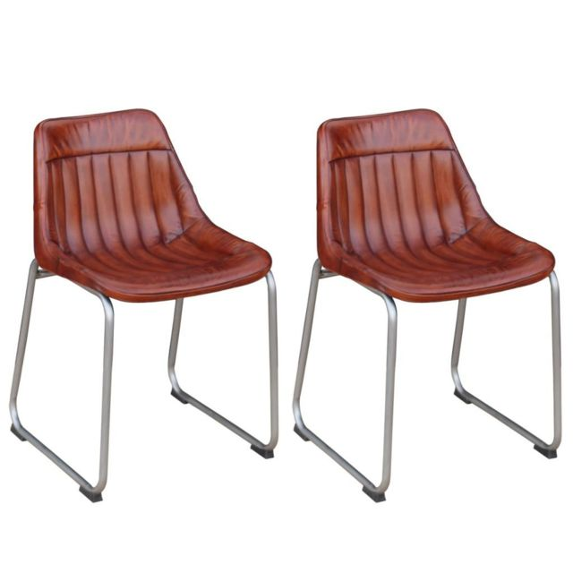 Sans Marque Chaise 2 pièces Cuir véritable avec rayures Marron
