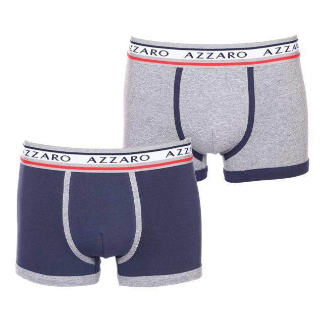 Azzaro - Lot de 2 boxers Azzaro en coton stretch gris chiné et bleu marine 78c1cec7944