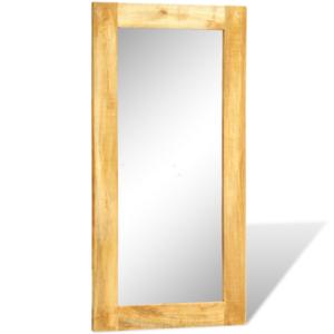 Vidaxl miroir mural en bois massif rectangulaire 120 x for Miroir mural rectangulaire bois