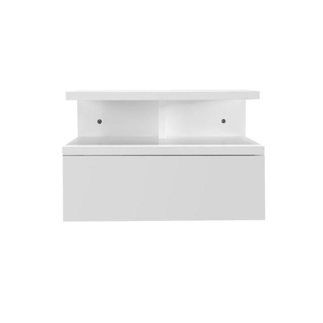 Miliboo Table De Chevet Design Laquee Blanche Mitsy Pas Cher