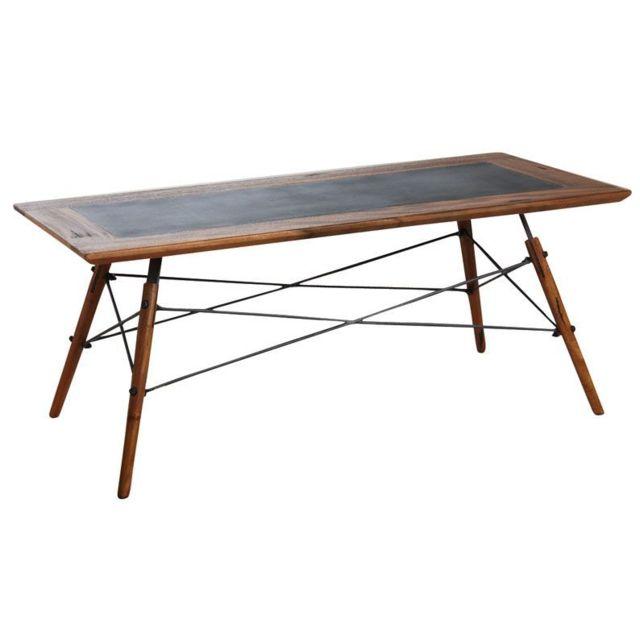 AUBRY GASPARD Table basse en bois de suar massif et métal