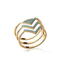 Collection Zanzybar - Bague flèche 3 anneaux plaqué or et perle turquoise Michigan Taille - 50
