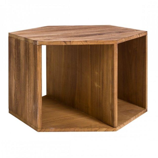 Table Basse Hexagonale Bois Marron Clair Moderne Sejour Lounge Chambre