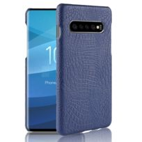 7bfc078c86 Wewoo - Coque rigide Crocodile antichoc Texture Pc + Etui Pu pour Galaxy  S10 5G Bleu