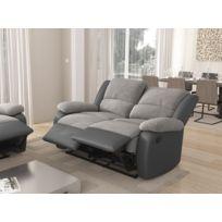 USINESTREET - Canapé Relaxation 2 places Microfibre / Simili DETENTE - Couleur - Gris