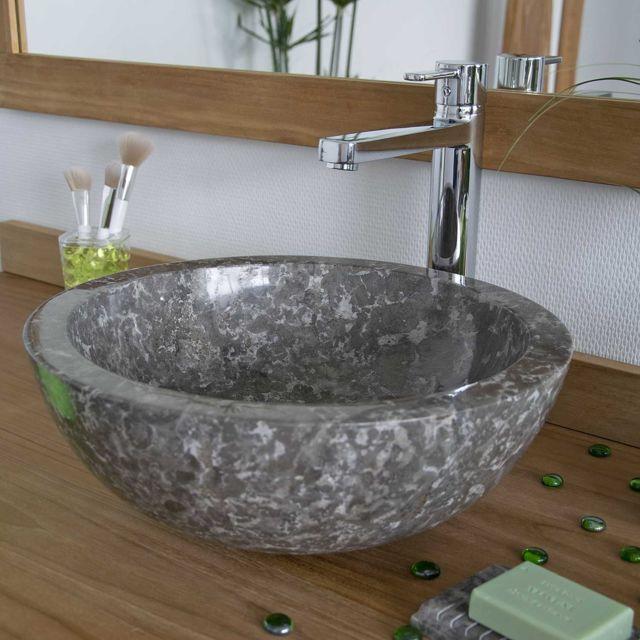 vasque a poser gris ... Ocean Line - Vasque à poser en marbre gris, Lizéa ...