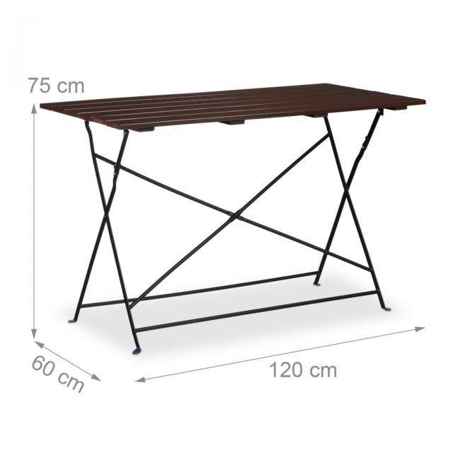 Table de jardin camping en métal pliante pour 4 personnes 120 x 60 cm  marron 2213019
