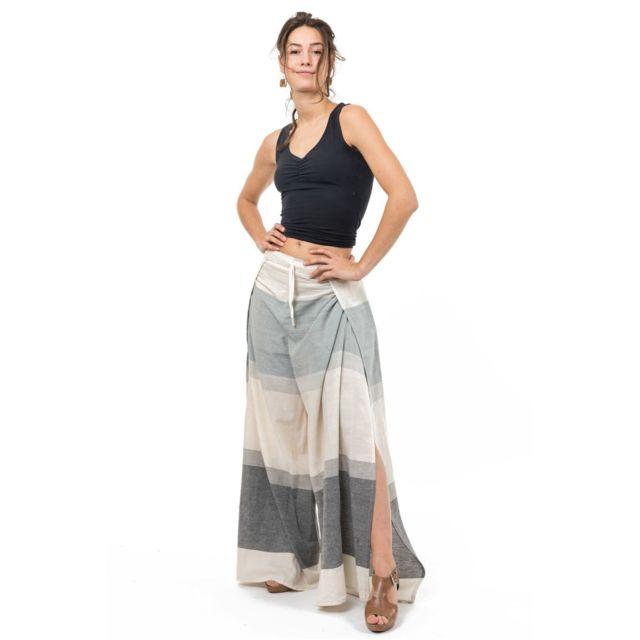 Fantazia - Pantalon femme fluide jambe fendue