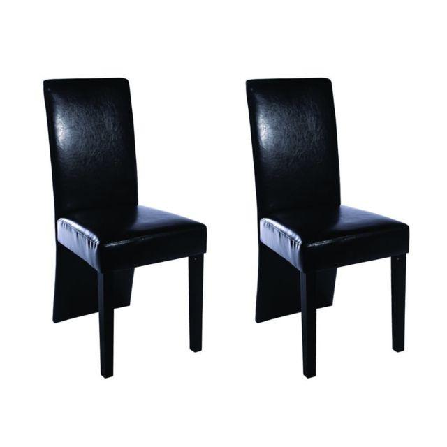 Sans Marque Chaise de salle à manger 2 pcs Cuir artificiel Noir