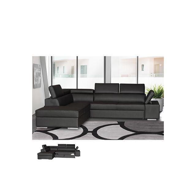 Canapé d'angle convertible gauche en Pvc noir Chicago