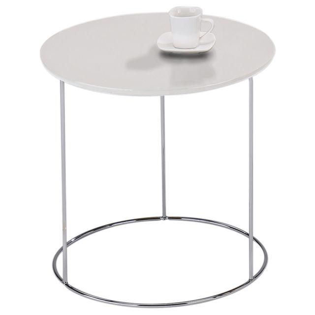 Industriel Table Design Blanc Canapé En Métal De D'appoint Pied Fidelius Bout Avec Ronde Basse Vintage ChroméDécor 5RAL34jq