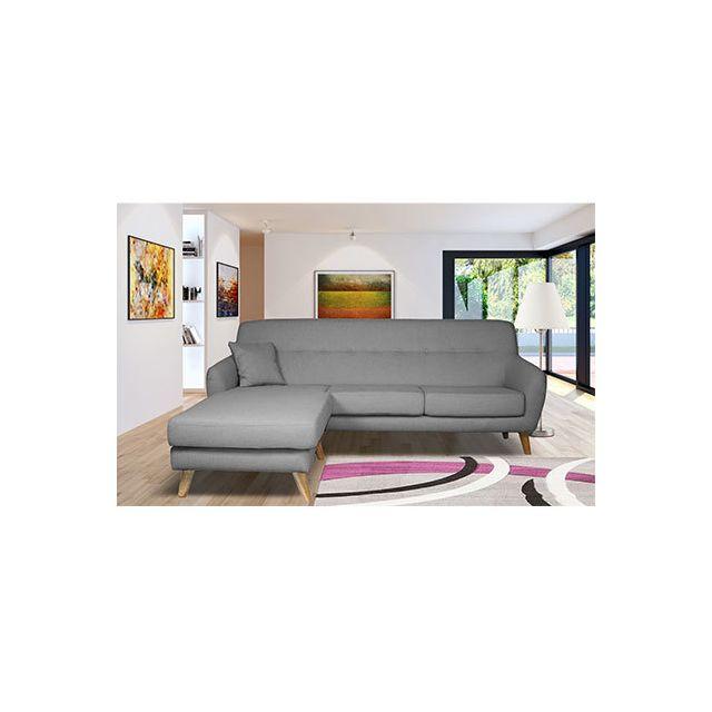 Canapé angle réversible en tissu gris clair - Maloune