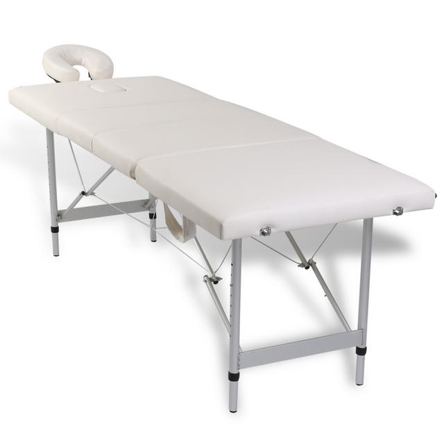 vidaxl table de massage pliante 4 zones cr me cadre en aluminium pas cher achat vente. Black Bedroom Furniture Sets. Home Design Ideas
