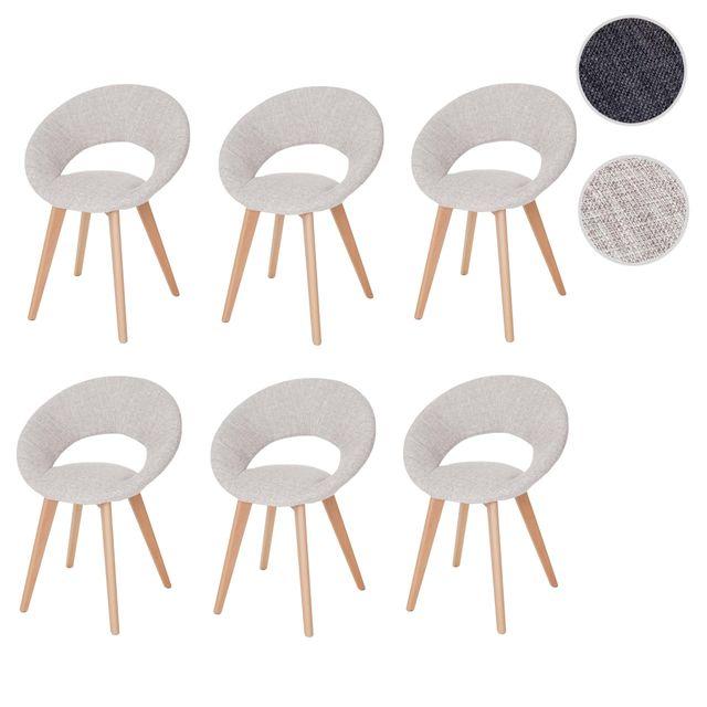 Mendler 6x chaise de salle à manger Palermo Iii, fauteuil, design rétro des années 50 ~ tissu, crème/gris