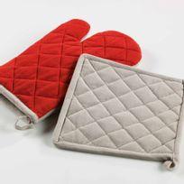Couleur Campagne - Cdaffaires Gant+ manique 17 x 28 cm/20 x 20 cm coton bicolore cerisettes Rouge