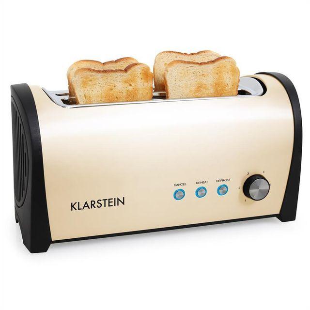 KLARSTEIN Set petit-déjeuner grille-pain 4 fentes & bouilloire -crème/beige