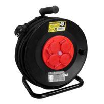 No Name - Enrouleur électrique 40m 4 prises + coupe-circuit rouge