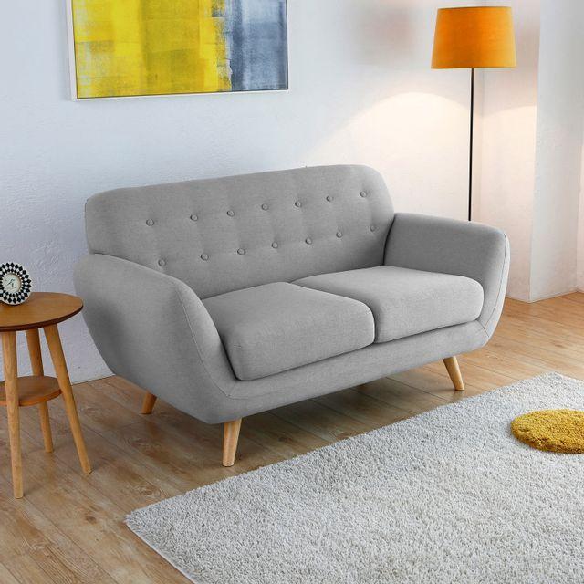 CONCEPT USINE Helsinki 2p : Canapé scandinave 2 places gris clair