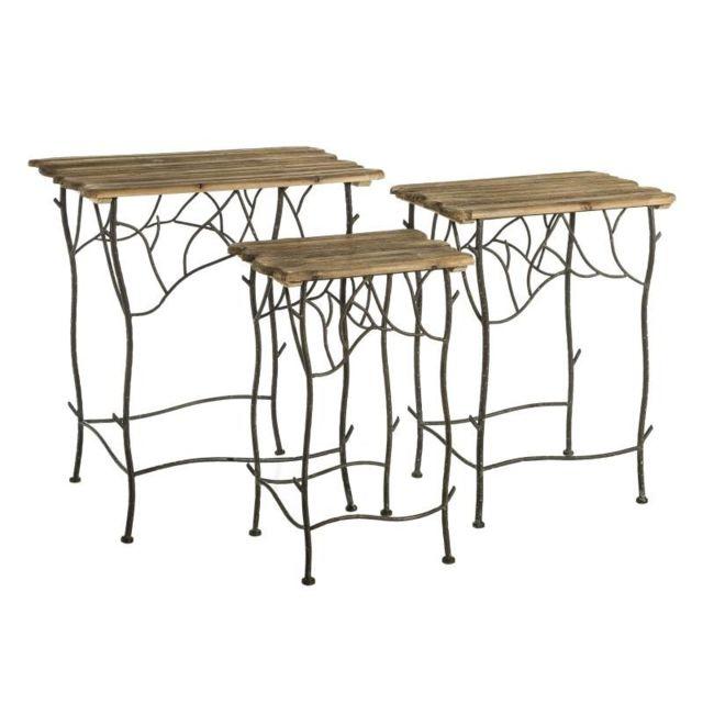 Tousmesmeubles Set de 3 tables d'appoint gigognes en Bois/Métal - Ernest