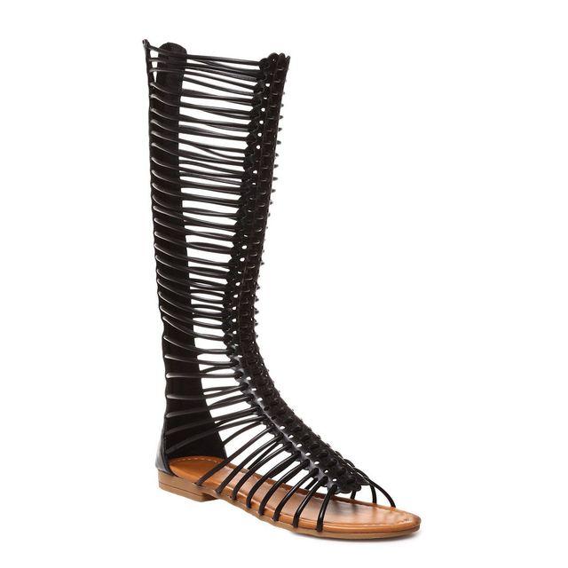 Pas Montantes Style Lamodeuse Cher Noires Sandales Spartiates gYfvI6b7y