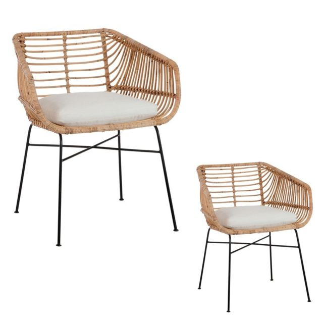 Tousmesmeubles - Duo de Chaises Rotin - Bloom