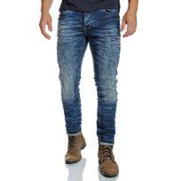 Redbridge - Jean homme straight bleu délavé et usé