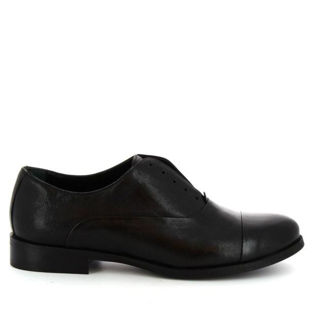 Leonardo Shoes Femme 1914BLACK Noir Cuir Chaussures À Lacets