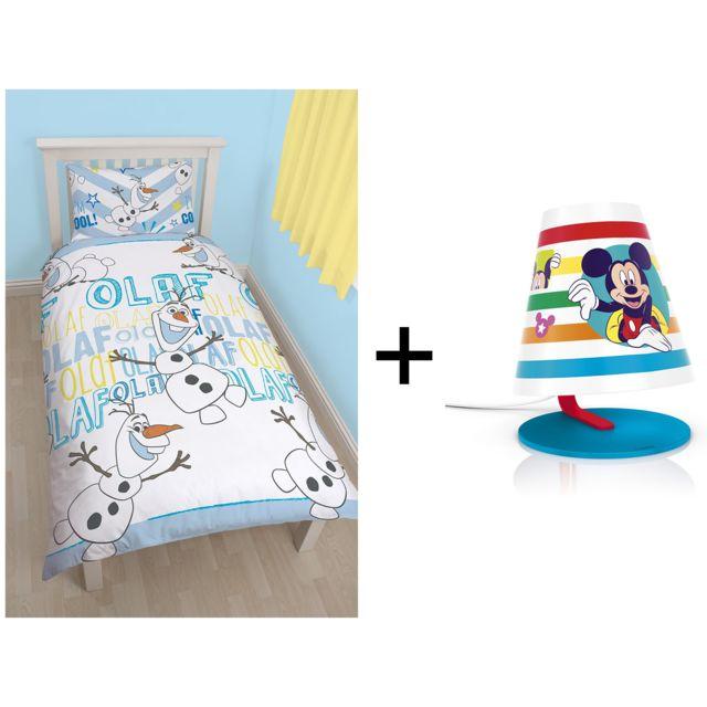 Disney parure de lit couette 135x200 taie d 39 oreiller 74x28 olaf lampe de bureau mickey - Parure de lit disney pas cher ...
