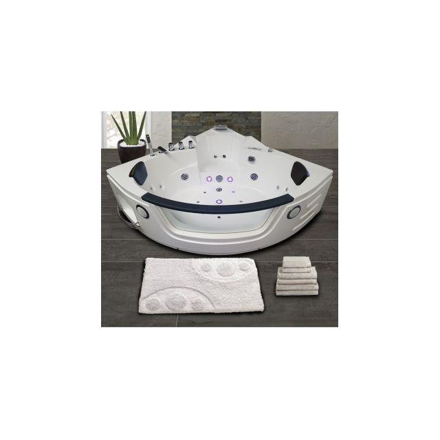 ouest balneo baignoire balneo d 39 angle toutes options blanche 140cm x 140cm pas cher achat. Black Bedroom Furniture Sets. Home Design Ideas