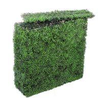 Jardin Artificiel - Muret de buis artificiel - Vert foncé
