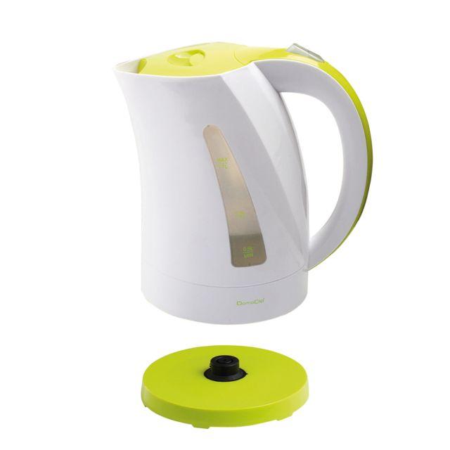 DOMOCLIP Bouilloire électrique bicolore blanc/vert DOM298BV Bouilloire sans fil - Base pivotante sur 360° - Capacité de 1,7 L - Puissance de 2200 W - Réservoir d'eau visible - Interrupteur d'arrêt automatique - Emplacem