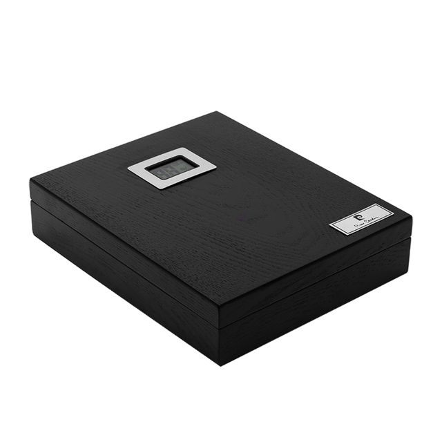 Pierre cardin Cave a cigare hygrometre digital bois chêne noir