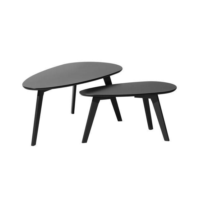 Beliani Lot De 2 Tables Basses Noires Fly Ii Pas Cher
