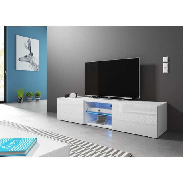 Vivaldi Hit Meuble Tv Design Blanc Mat Avec Blanc Brillant