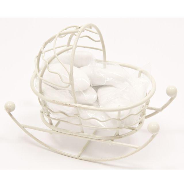 Visiodirect Lot de 12 Mini-berceaux à dragées en Métal coloris Blanc - 9 x 5 x 7 cm