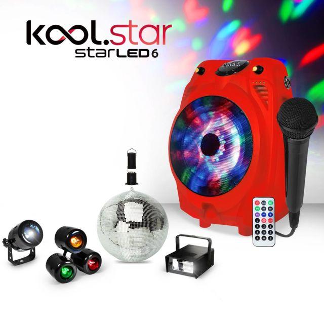 Koolstar Enceinte mobile Karaoke rouge Led Rvb Usb/BT + Micro filaire + Pack lumière Fiesta enfant