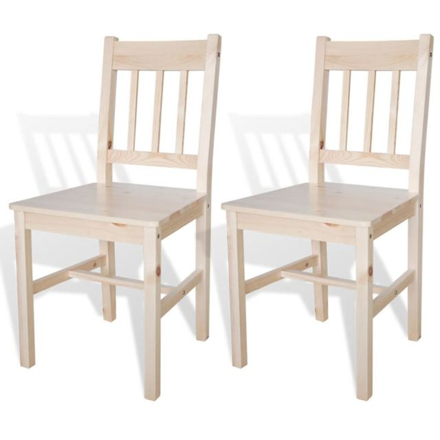 Chaise de salle à manger 2 pcs Bois Couleur naturelle | Beige