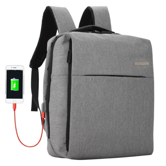 Sacoche ordinateur 15.6 17 pouces gris pour 15,6 et ci dessous, port de charge USB externe d'écouteur multifonctions affaires sac à dos occasionnel