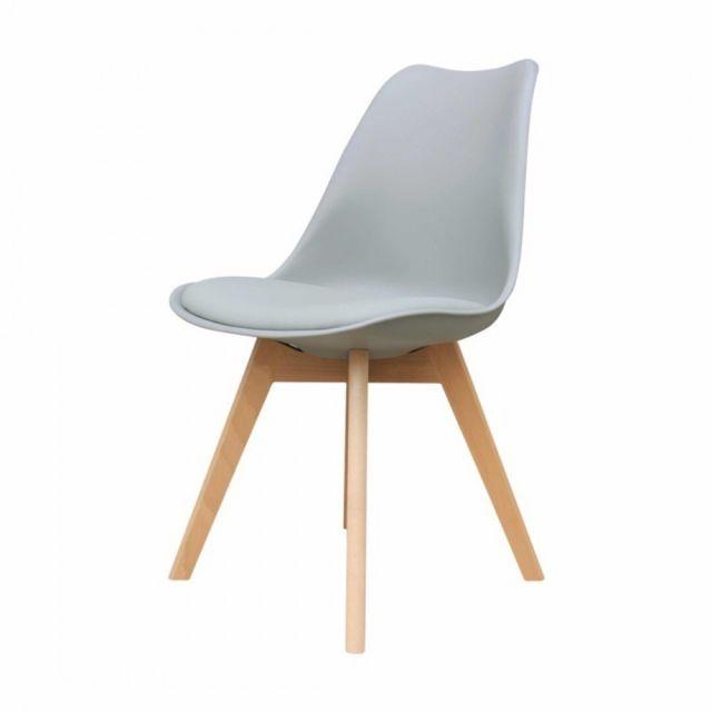 Zoli99 Liyah Lot de 2 Chaise avec pieds en bois Gris pas