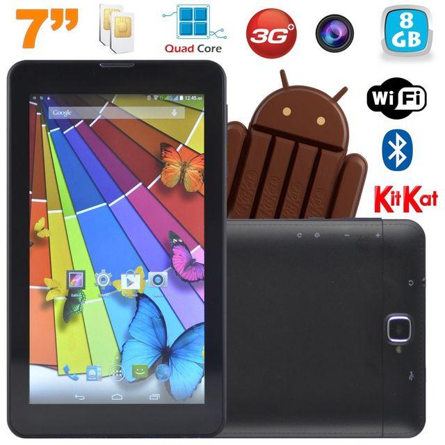 Yonis Tablette tactile 3G Quad Core 7 pouces Dual Sim Android 4.4 Noir 8Go