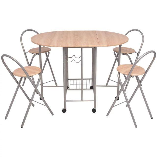 Vidaxl Ensemble de salle à manger pliable Table et chaises