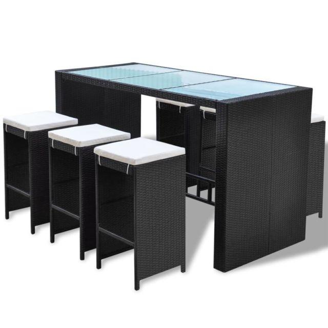 Icaverne - Ensembles de meubles d'extérieur serie Jeu de bar de jardin 13 pcs Noir Résine tressée