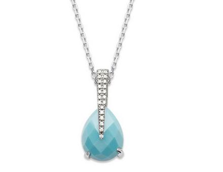 collier argent avec pierre turquoise